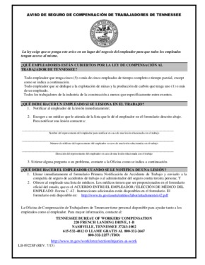 Free Tennessee Tennessee Workers' Compensation Insurance Posting Notice (Spanish) PDF (Workers Compensation Law Poster)
