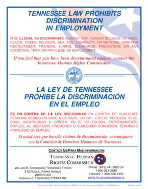 Free Tennessee Tennessee Law Prohibits Discrimination in Employment PDF (Equal Opportunity Law Poster)