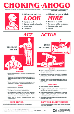 Free Texas Texas Choking Poster - Food Safety PDF (First Aid Poster)