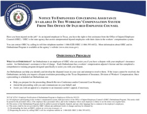 Free Texas Ombudsman Notice PDF (Miscellaneous Law Poster)
