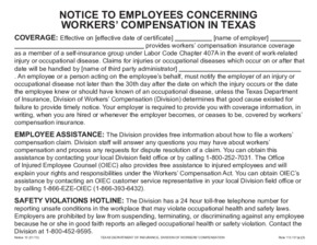 Free Texas Workers' Compensation Notice 10 - Concerning Workers' Compensation in Texas PDF