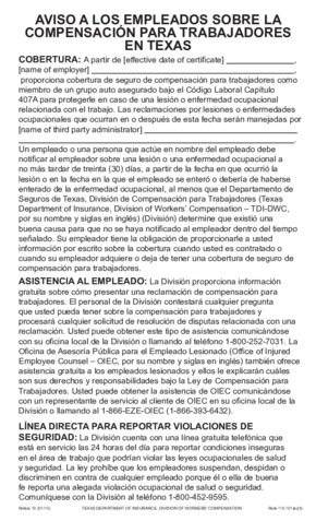 Free Texas Workers' Compensation Notice 10 - Concerning Workers' Compensation in Texas (Spanish) PDF