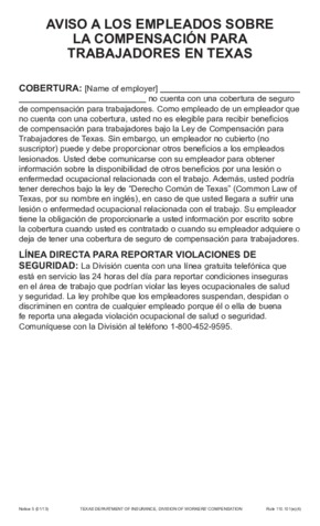 Free Texas Compensation Notice 5 - Non-Election of Workers' Compensation (Spanish) PDF