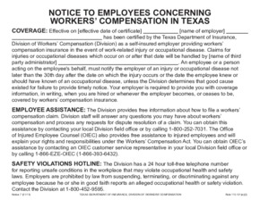 Free Texas Workers' Compensation Notice 7 - Concerning Workers' Compensation in Texas PDF (Workers Compensation Law Poster)