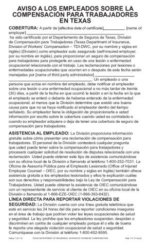 Free Texas Workers' Compensation Notice 7 - Concerning Workers' Compensation in Texas (Spanish) PDF