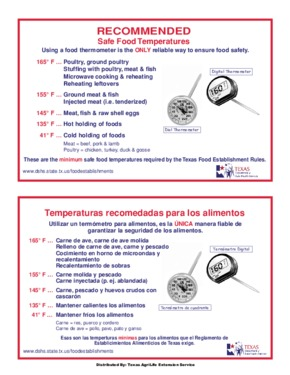 Free Texas Texas Safe Food Temperatures Poster PDF