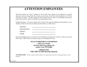 Free Texas Texas Payday Law, Title 2, Chapter 61, Texas Labor Code PDF