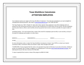 Free Texas Texas Unemployment Law and Payday Law PDF