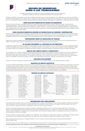 Free Utah Unemployment Insurance Notice to Workers (Spanish) PDF