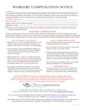 Free Utah Workers' Compensation Notice for the State of Utah PDF
