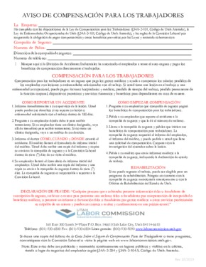 Free Utah Workers' Compensation Notice for the State of Utah (Spanish) PDF
