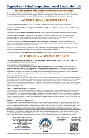Free Utah Workplace Safety and Health in the State of Utah (Spanish) PDF