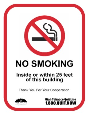 Free Utah Utah Smoke Free Business Sign PDF