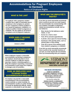 Free Vermont Accommodations for Pregnant Employees PDF