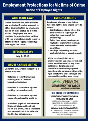 Free Vermont Crime Victims Leave Poster PDF