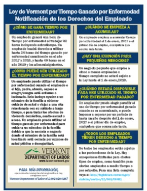 Free Vermont Earned Sick Time Poster in Spanish PDF