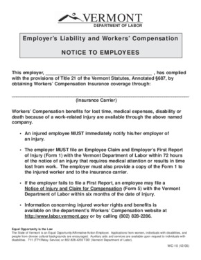 Free Vermont Vermont Employer's Liability and Workers' Compensation PDF