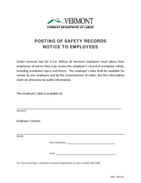 Free Vermont Posting of Safety Records Notice to Employees PDF