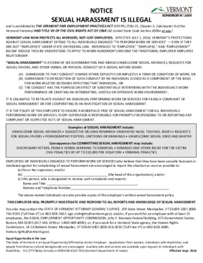 Free Vermont Sexual Harassment Is Illegal Notice PDF