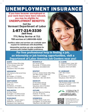 Free Vermont Unemployment Insurance Information for the State of Vermont PDF