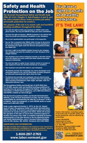 Free Vermont Safety and Health Protection on the Job in Vermont PDF