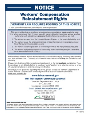 Free Vermont Notice of Workers' Compensation Reinstatement Rights PDF