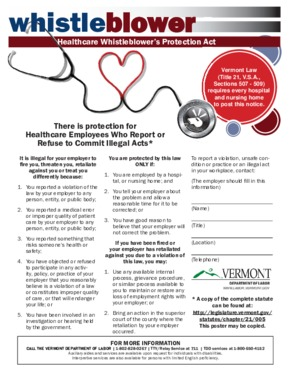 Free Vermont Healthcare Whistleblower's Protection Act PDF