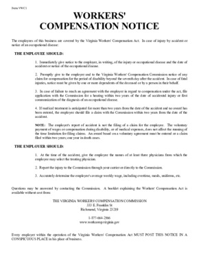 Free Virginia Workers' Compensation Notice for the Commonwealth of Virginia PDF (Workers Compensation Law Poster)