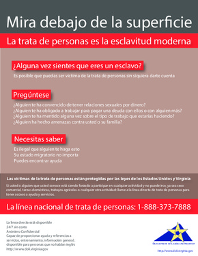 Human Trafficking Poster in Spanish PDF