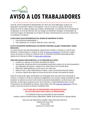 Free Virginia Unemployment Compensation in the Commonwealth of Virginia (Spanish) PDF (Unemployment Law Poster)