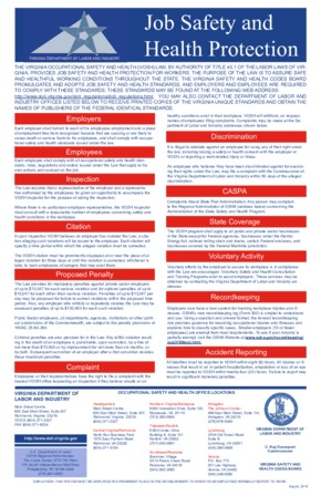 Free Virginia Job Safety and Health Protection in Virginia PDF (Job Safety Law Poster)