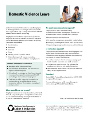 Free Washington Domestic Violence Leave Factsheet PDF (General Labor Law Poster Poster)