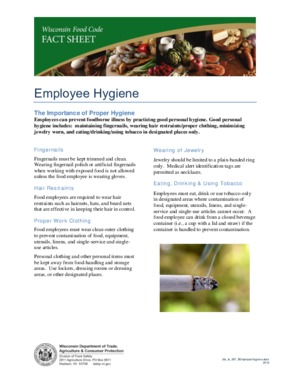 Free Wisconsin Employee Hygiene Factsheet - Food Safety PDF (Food Service Poster)
