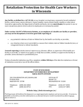 Free Wisconsin Retaliation Protection For Health Care Workers in Wisconsin PDF