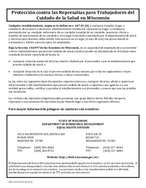 Free Wisconsin ERD-12210-S-P Retaliation Protection for Health Care Workers Poster (Spanish) PDF