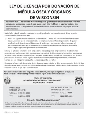 Free Wisconsin Bone Marrow and Organ Donation Leave poster (Spanish) PDF