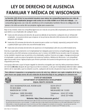Free Wisconsin Family and Medical Leave Law (Spanish) PDF (Family Leave Law Poster)