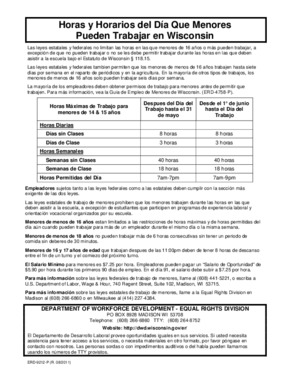 Free Wisconsin Hours and Days of Work Minors May Work in Wisconsin (Spanish) PDF (Child Labor Law Poster)
