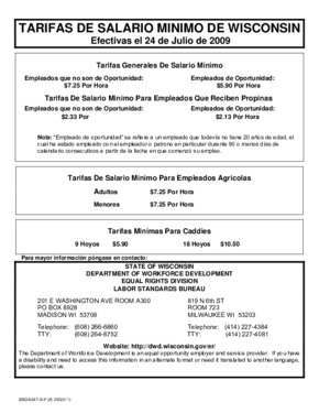 Free Wisconsin Minimum Wage Rates (Spanish) PDF (Minimum Wage Law Poster)