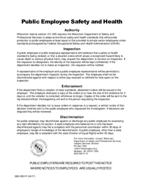 Free Wisconsin Public Employee Safety and Health PDF
