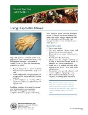 Free Wisconsin Proper Use of Disposable Gloves PDF