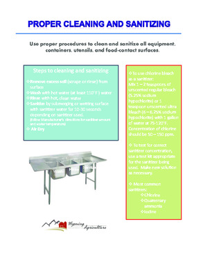 Free Wyoming Proper Cleaning and Sanitizing PDF (Food Service Poster)